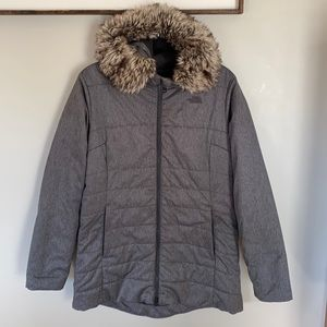 The North Face Women's Harway Insulated Parka in Grey with Faux Fur Hood